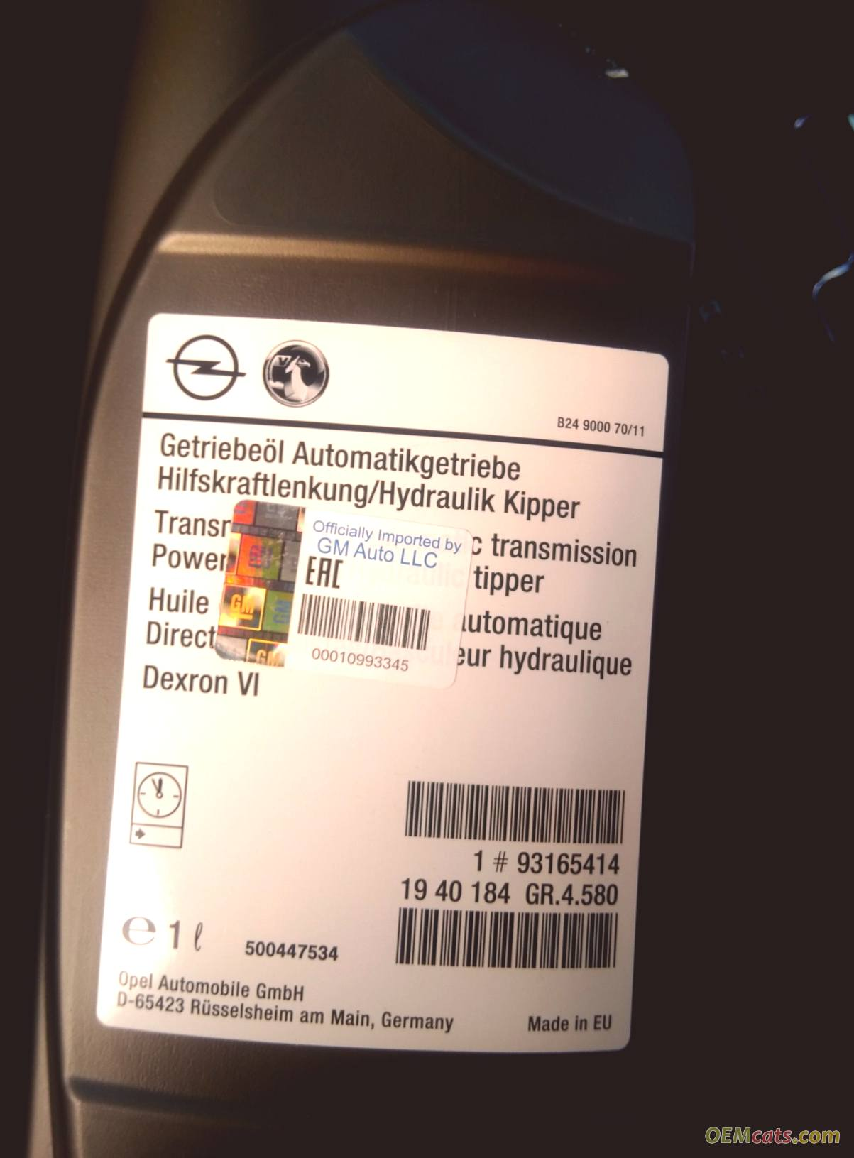93165414, Oil, steering and automatic transmission, dexron 6, 1 litre GM part